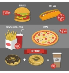Fast food price set poster label vector