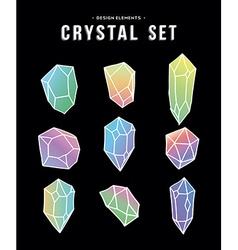 80s crystal set of colorful icons and symbols vector