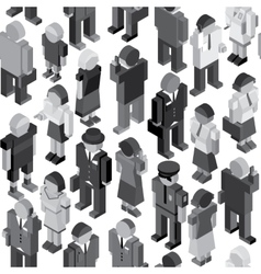 Monochrome people seamless pattern vector