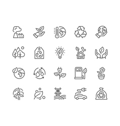 Line eco icons vector