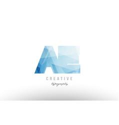 Ae a e blue polygonal alphabet letter logo icon vector