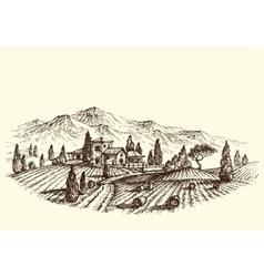 Agriculture landscape land after harvest farm and vector