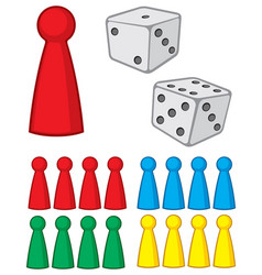 board game figures with dices vector image