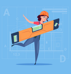 cartoon woman builder holding carpenter level vector image vector image