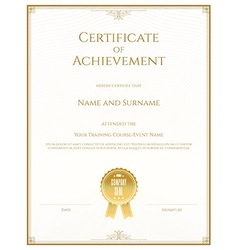 Certificate achievement gold vector