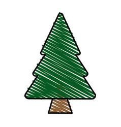Color crayon stripe cartoon pine tree vector