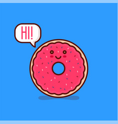 cute happy smiling tasty pink donut say hi vector image vector image