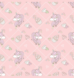 Cute unicorn and cupcake vector