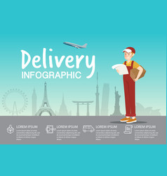 Delivery boy with order at airport infographic vector