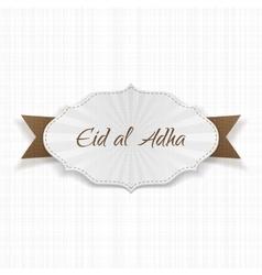 Eid al-adha greeting paper label vector