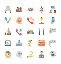 Flat icon pack of human resource vector