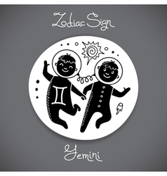 Gemini zodiac sign of horoscope circle emblem in vector image vector image