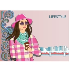 Girl in fashionable clothes Hipster vector image vector image