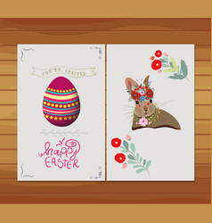 Happy easter egg rabbit invitation florals vector