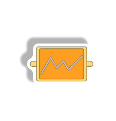 line graph in paper sticker vector image vector image
