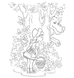 little red riding hood and wolf colouring page vector image vector image