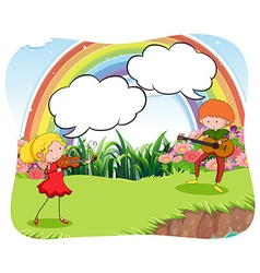 Musicians playing violin in the garden vector