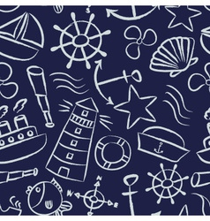 nautical sketch doodle icons seamless blue pattern vector image