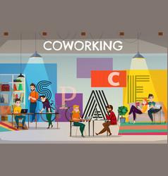 Open space coworking poster vector