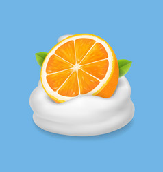 Orange fruit in yogurt icon fruit and milk vector