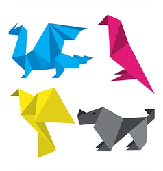 Origami in print colors vector image vector image