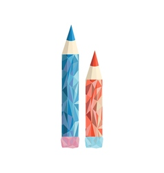Polygonal Pencil Icon with geometrical figures vector image vector image