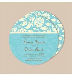Round wedding card blue vector