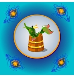 Russian folk character pike with peacock feather vector