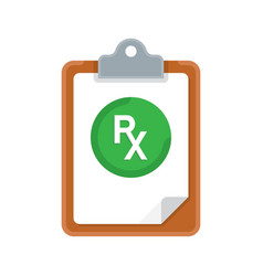 rx prescription and clipboard over white vector image