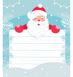 Santa claus with white wooden board for sign or vector