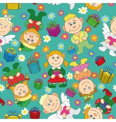 Seamless background kids with gifts and hearts vector image