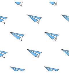 seamless pattern with paper blue plane vector image vector image