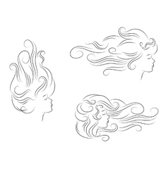set girl hair line silhouette vector image