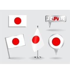 Set of japanese pin icon and map pointer flags vector