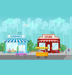 shops facade central street with public buildings vector image