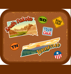 south dakota tennessee travel stickers vector image