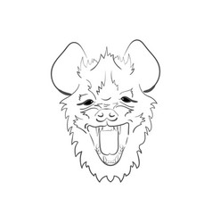 Stylized muzzle hyena black and white sketch for vector