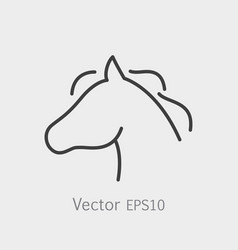 thin line horse head icon vector image