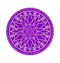 Violet color flower mandala over white vector
