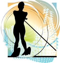 Water skiing woman vector image vector image