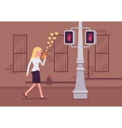 Woman walks with smartphone vector image