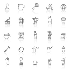Barista line icon with reflect on white background vector