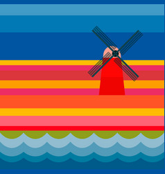 mill with tulipan fields and river vector image