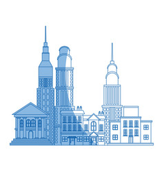 City buildings and skyscrapers of urban skyline vector