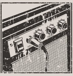 guitar amplifier retro style vector image