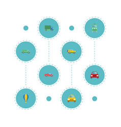 Flat icons airship lorry cab and other vector