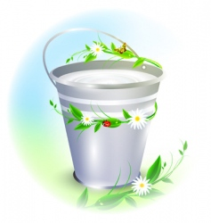 Bucket with milk vector