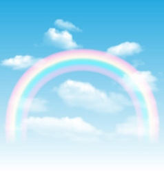 Rainbow sky and clouds vector