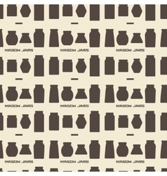 Mason jars silhouette icons set seamless texture vector