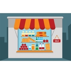 Small shop with open shelves with goods vector